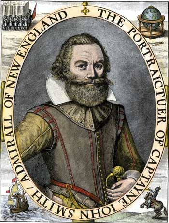 Portrait of Captain John Smith from A Description of New England, or, The Observations, and Discoveries, of Captain John Smith, c. 1616.