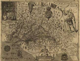 Virginia, c. 1624 by Captain John Smith, with the north oriented to the right. Smith explored much of the Chesapeake Bay during two voyages in the summer of 1608.